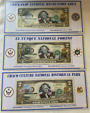Lot Of 3 - Atb Enhanced $2 Bill Collection - Chickasaw El Yunque Chaco Culture