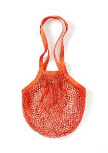 Orange String/net/mesh Ecofriendly Bag recycled unbleached cotton, Long Handles