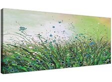 Modern Green Abstract Canvas Art of Flowers