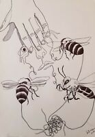 Lysiane D. Coste dessin  sur papier drawing on paper Bee Mine 29/42cm  2016