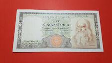 Banconota 50000 Lire Leonardo  1967 in very fine condition with certificate