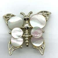 Vintage Butterfly Brooch Mother Of Pearl Disk MOP Gold Tone Pin Figural A11