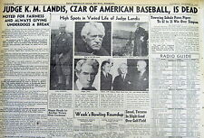BEST1944 newspaper BLACK SOX Baseball Commissioner KENNESAW MOUNTAIN LANDIS DEAD