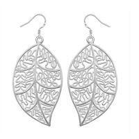 Womens Elegant Jewelry Leaf Shape Silver Plated Hook Long Dangle Earrings V3X