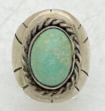 """Navajo Large Sterling Silver Turquoise Mens Ring Tooled Sz 9.75 18.1g 1"""""""