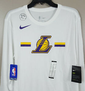 NIKE LA LAKERS NBA TEAM ISSUED LS SHIRT WHITE RARE NEW (SIZE LARGE-TALL = LT)