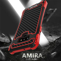 R-JUST Shockproof Carbon Fiber Metal Case Cover For Samsung Galaxy S10 Note 9 10