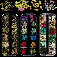 Mixed Metal Beads 3D Nail Art Decoration Flower Manicure Beauty DIY 12 Colors UK