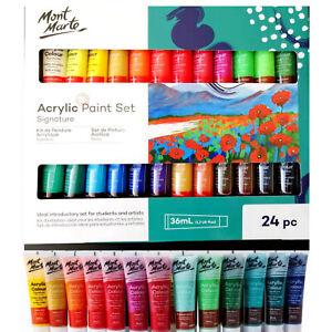 Acrylic Paint Set 24 x 36ml Mont Marte Studio Artist Student Painting Bright