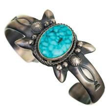 Navajo Turquoise Bracelet Sterling Silver SANDCAST Natutral Spiderweb Old Pawn