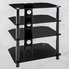 4 Tier Black Glass TV Stand Entertainment Unit Shelves Shelving Television HiFi
