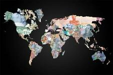 """World Money currency World Map Poster 40x27 36x24 18x12"""" Family Art Decor"""