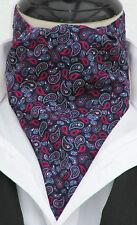 Da Uomo Navy Blu & Rosa Paisley Cotone Ascot Cravatta & Fazzoletto-Made in UK