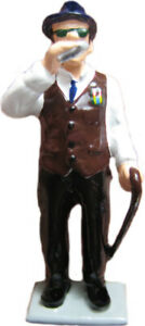 #1428 - Blind Man Playing Harmonica: Cast Metal Figure By Barclay
