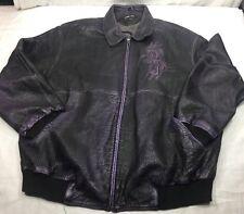 Pelle Pelle Marc Buchanan Embroiled Leather Bomber Jacket Black Purple  Men's 60