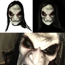 Adult Mens Long Black Hair Latex Mask Zombie Scary Halloween Fancy Dress Costume