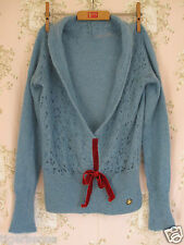 Vtg 40s 50s WW2 Velvet Bow Mohair Wool Knit Crochet V-Neck Red Blue Jumper