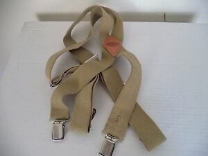 Men's Beige Dickies Adjustable Elastic Suspenders. 1S ( One Size ).