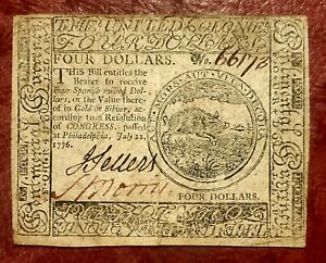 1776 $4 CONTINENTAL CURRENCY NOTE ~ JULY 22 1776 ISSUE~ LOVELY CHOICE HIGH GRADE