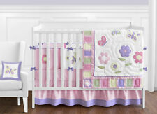 Discount Flower Butterfly Designer 9p Baby Girl Crib Quilt Bedding Comforter Set