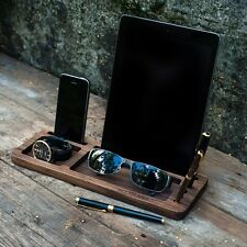 Apple Watch iPad iPhone Wooden Holder, Charging Stand Desktop Station USB