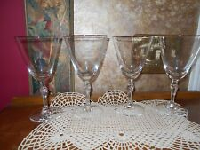 FOSTORIA Engagement Fine Crystal Platinum Rim Water Glasses Goblets Stems set 4