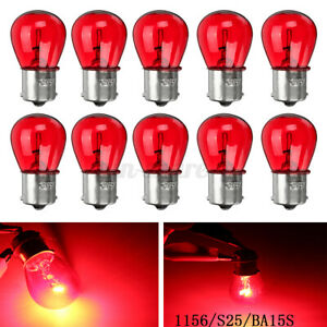 10x 1156 RED 12V 21W BA15S Light Bulb Auto Car Brake Stop Signal Turn Tail Lamp
