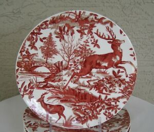 RARE! (1) Pottery Barn ALPINE TOILE Country French Stag SALAD PLATE Replacement