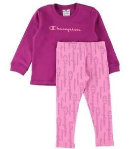 Champion Toddler Girls Trackuit Cotton Purple Hoodie Pink Leggings 404235-VS075