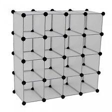 NEW! Interlocking 16 Compartment Shoe Organiser Storage Cube Rack White