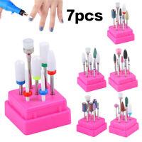 7Pcs Embout Nail Drills Foret À Ongle Manucure En Céramique Fraise Pour Ponceuse