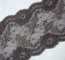 "6.75"" Wide Stretch Floral Lace Brown y0292"