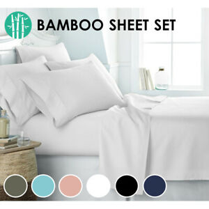 2000TC Bamboo Cooling Sheet Set Ultra Soft Breathable Flat Sheet Fitted All Size