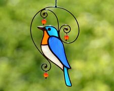 Stained glass bluebird suncatcher, windows glass hangings, garden decoration