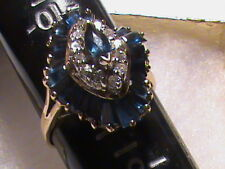 Absolutely Stunning 14k Gold Sapphire and Diamonds Ring, 6.1 Grams,  0.36 Carat