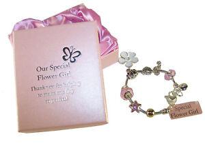 Flower girl pink charm bracelet jewellery gift present wedding
