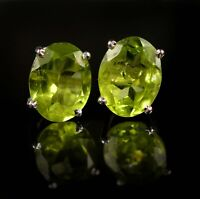925 Sterling Silver 9x7 MM Oval Cut Natural Green Peridot Gemstone Stud Earring