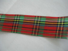 "RED/GREEN/BLACK PLAID RIBBON, 1-1/4"" X 4-3/4 YARDS"