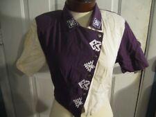 Women's Rodeo Short Sleeved Shirt Jacket Roughrider Circle T Sz S White Purple