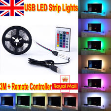 3m 5v 5050 RGB LED Strip Lights USB TV PC Back Mood Lighting Remote Controller