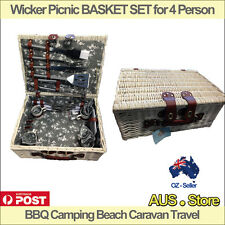 Wicker Picnic BASKET SET for 4 Person, BBQ Camping Beach Caravan Travel