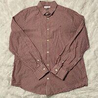 Calvin Klein Mens Size Medium Long Sleeve Button Down Red Checkered Shirt EUC
