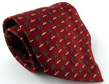 Van Heusen Tie Necktie 100% Silk Red Green Palm Tree Pattern