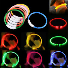 Necklace USB Rechargeable Pet Safety LED Dog Collar Glowing Light Up Adjustable