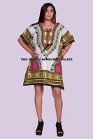 Women Short Kaftan African Floral Design Dashiki Boho Maxi Gown Plus Size Tunic