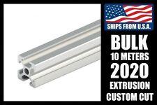 BULK! 10 Meters Custom Cut to Length 2020 Series Aluminum Extrusion, 6mm T-Slot