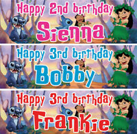2 x personalized birthday banner party Lilo & Stitch boys girls any name ages