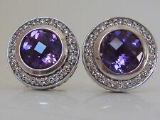 $1200 DAVID YURMAN, SILVER PETITE CERISE AMETHYST DIAMOND EARRINGS