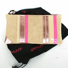 RUTHIE DAVIS $698 canvas neon pink metallic leather Simple clutch purse bag NEW