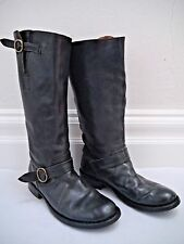 FIORENTINI + BAKER dark gray knee high leather boots buckle details size 39.5